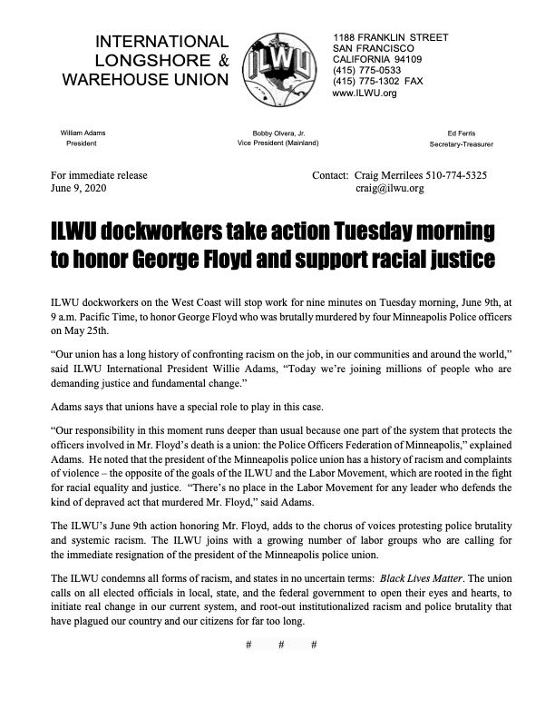 ILWU 6/9 2020 Dockworker Action