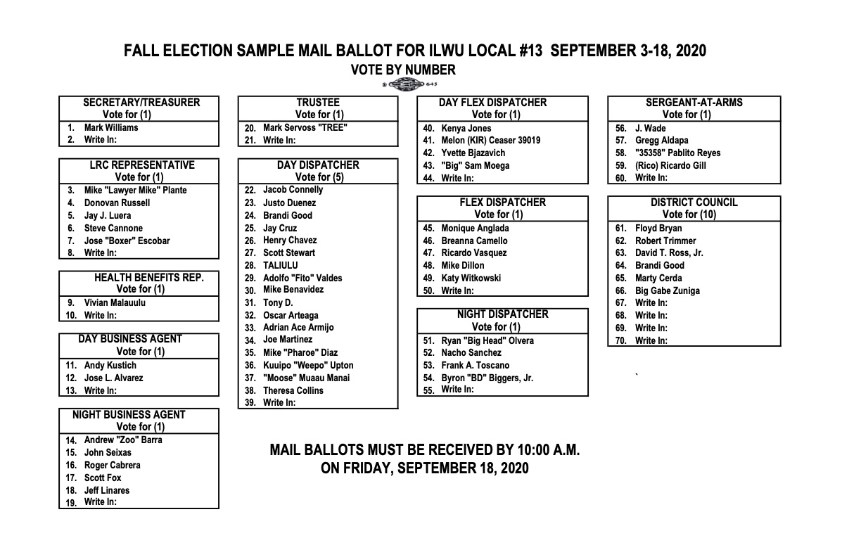 2020 Fall Election Sample Ballot